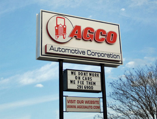 The 2009 AGCO Automotive sign in place before addition of digital reader board