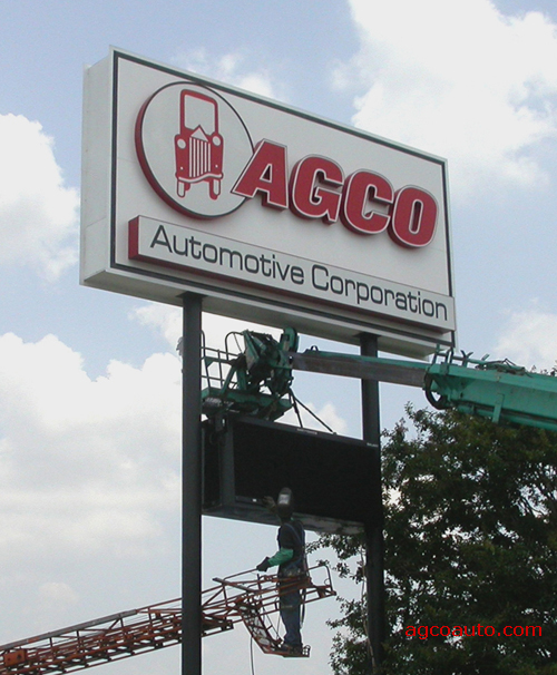 Welding the AGCO Digital sign in place