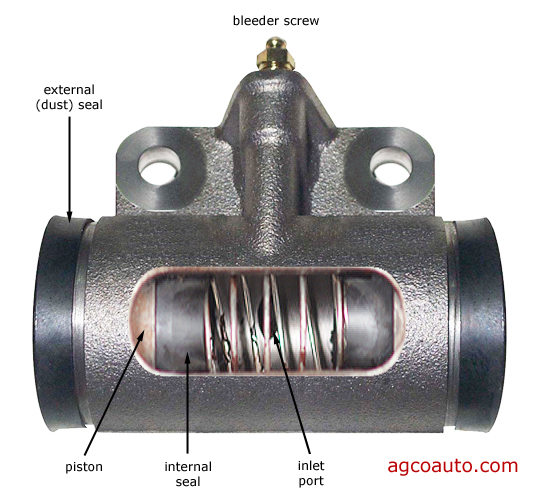internal parts of a brake wheel cylinder
