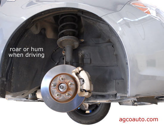 A roar or hum from the wheel often means a bad wheel bearing