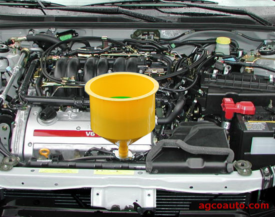 Coolant funnel makes bleeding the system easier