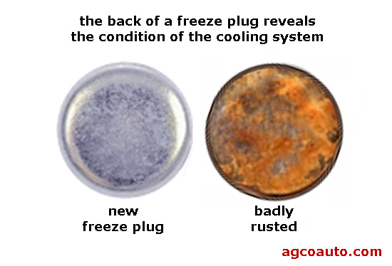 Badly corroded freeze plug shows cooling system problems