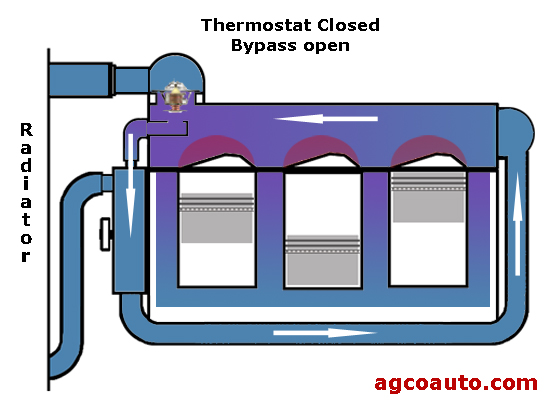 a closed thermostat bypasses the radiator