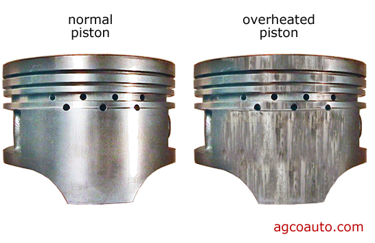 piston damage caused by overheated engine