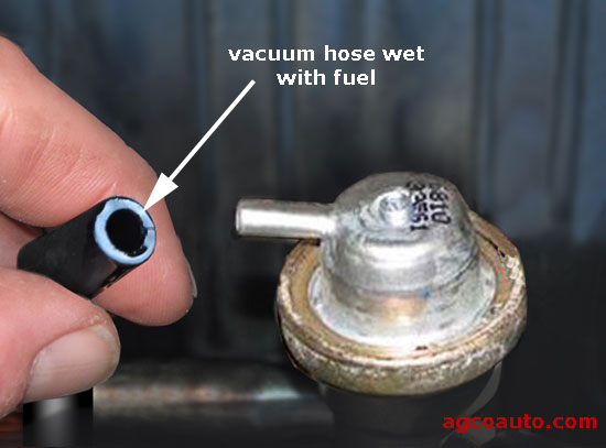 Fuel in the vacuum hose means a leaking regulator