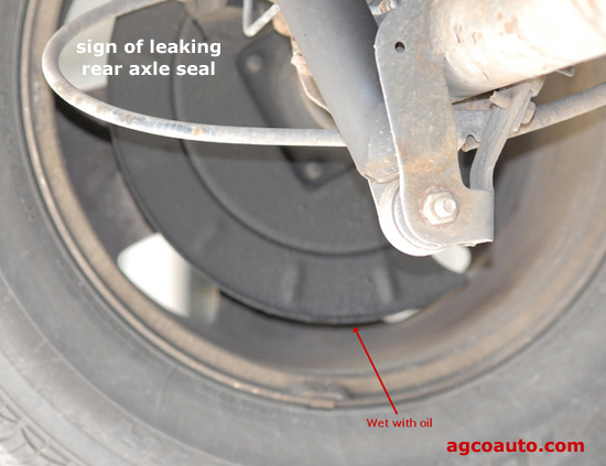 Oil on backing brake plate indicates leakage