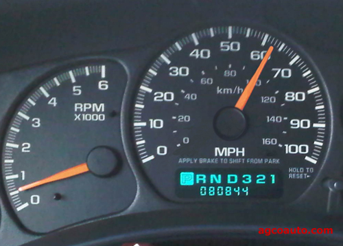GM Silverado speedometer, notice vehicle is in park and sitting still