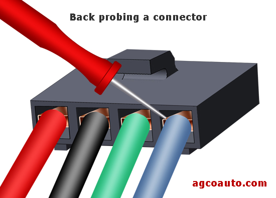 Back probing an electrical connector
