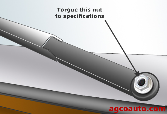 The wiper arm attaching nut may work loose over time