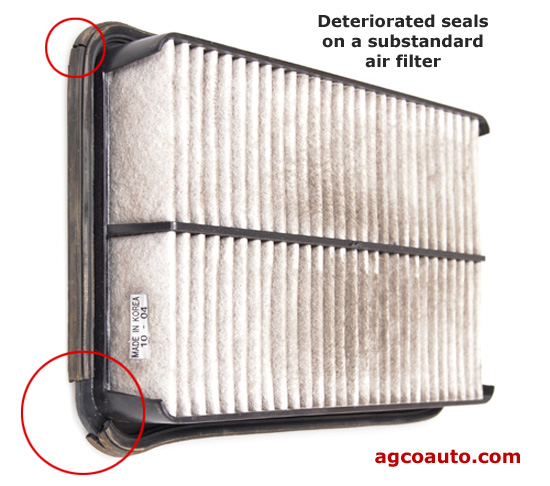Cheap air filters may not seal and can be worse than the dirty original