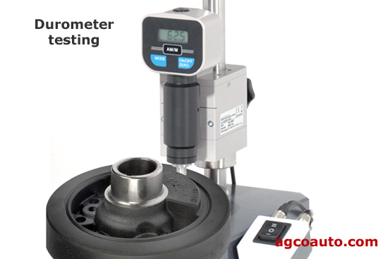 Checking rubber hardness with a durometer