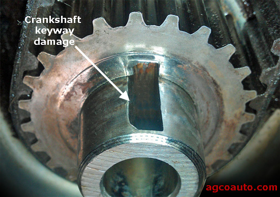 Crankshaft key way damaged by loose harmonic balancer