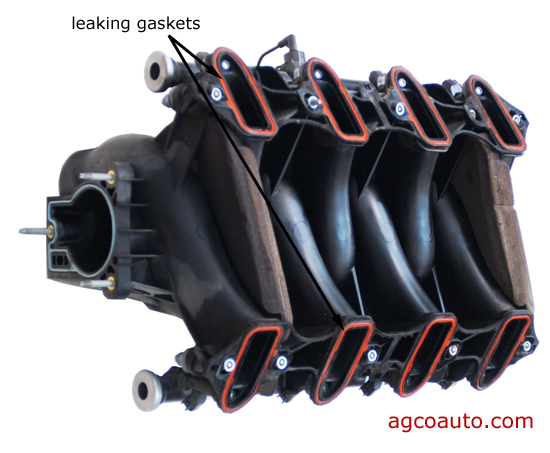 leaking intake gaskets will cause engine to idle rough and misfire when cold