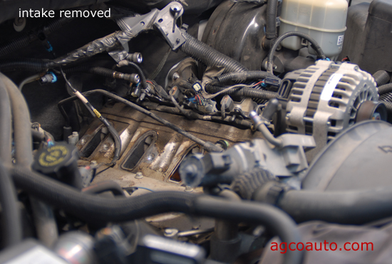 Intake manifold removed on GM V8 engine