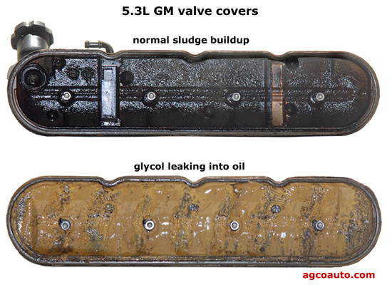 Normal valve cover on top, coolant contaminated cover on bottom