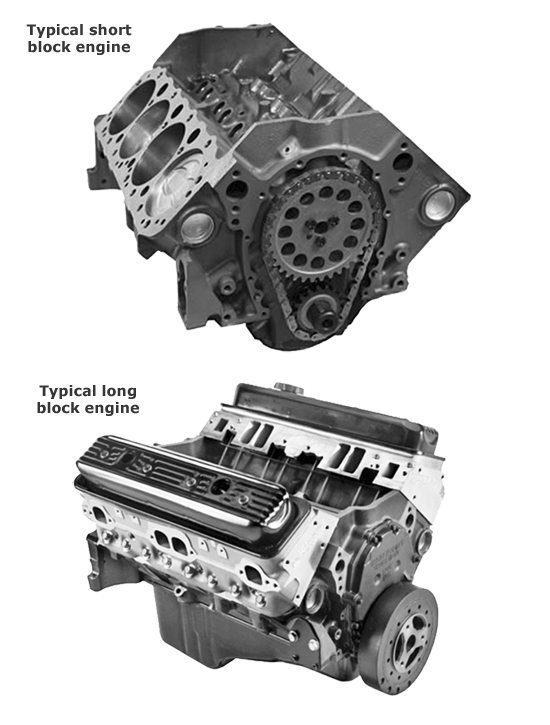 Rebuilt engines come as short-blocks and long-blocks