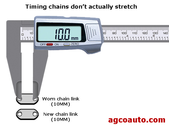 Chains wear in the links and pins, and slack allow them to elongate