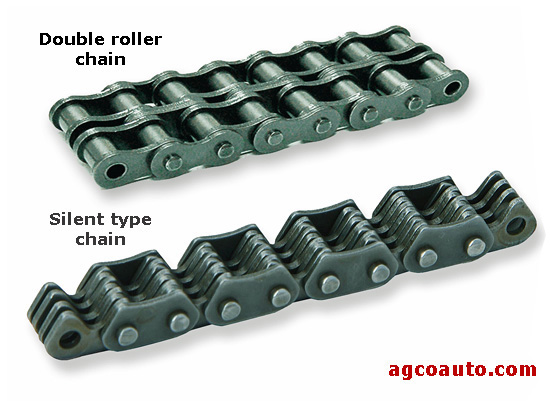 Roller and silent type timing chains