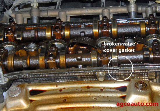 Hardened valve cover gasket has cracked