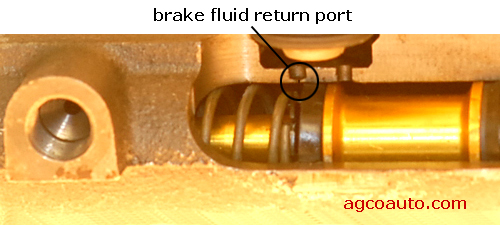 A brake master cylinder return port.