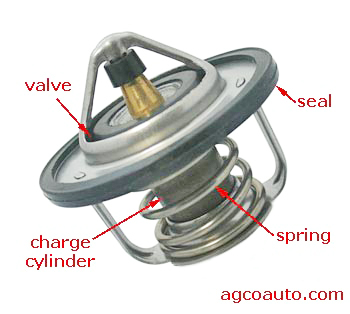 A typical automotive engine thermostat.