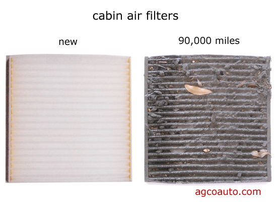 a new cabin filter on the left and a restricted one on the right