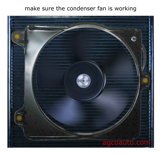 The speed of the condenser fan is important