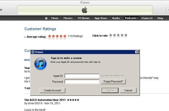Log in to iTunes to rate the Automotive Hour