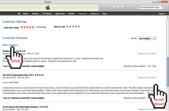 Scroll down to write a review, in iTunes to rate the Automotive Hour