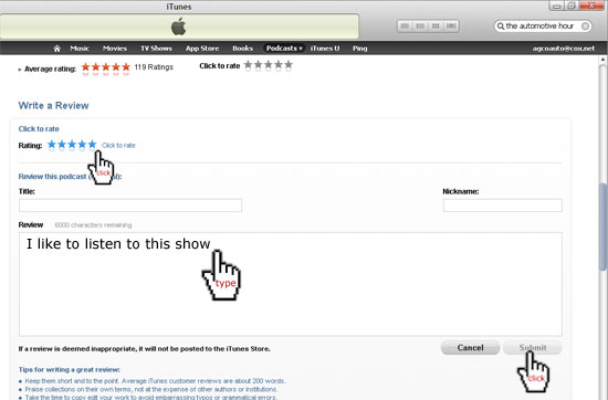 Type your comment in to iTunes to rate the Automotive Hour
