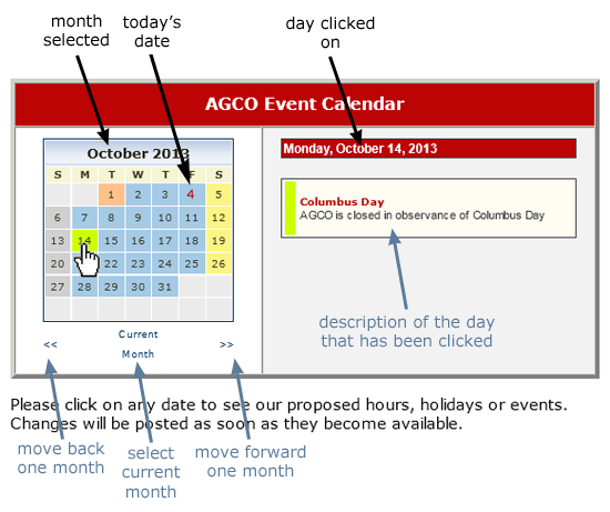 The AGCO Automotive interactive calendar and how it works.