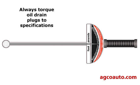 Oil drain plugs should be tightened to specifications using a torque wrench