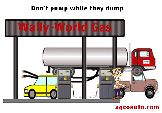 Never fill your tank while the tanker is filling the gasoline station tanks