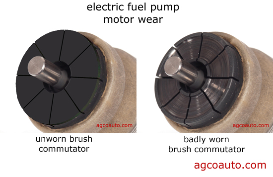 Worn electric fuel pump commutator and brushes