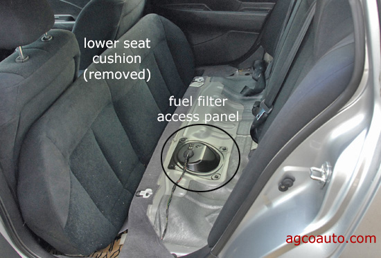 fuel pump and filter access panel under rear seat