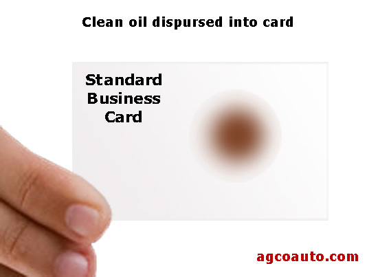 Fresh oil soaked into a business card