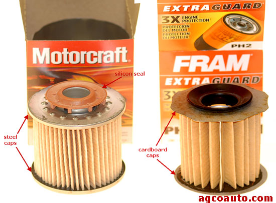 Motorcraft, inside view shows metal end caps