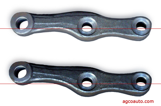 a straight and bent steering arm compared