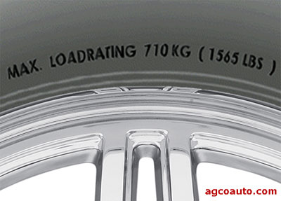 Tire sidewall showing the load rating