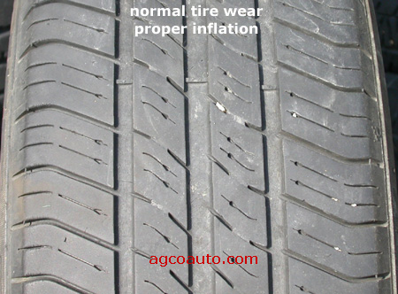 A properly inflated tire with normal wear.