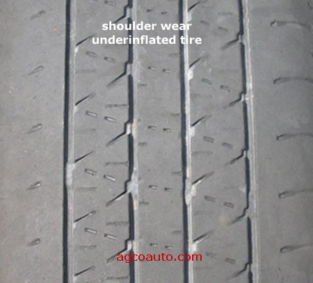 A tire worn by under inflation.