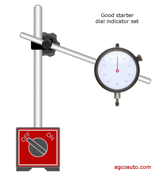 A magnetic base stand and dial indicator