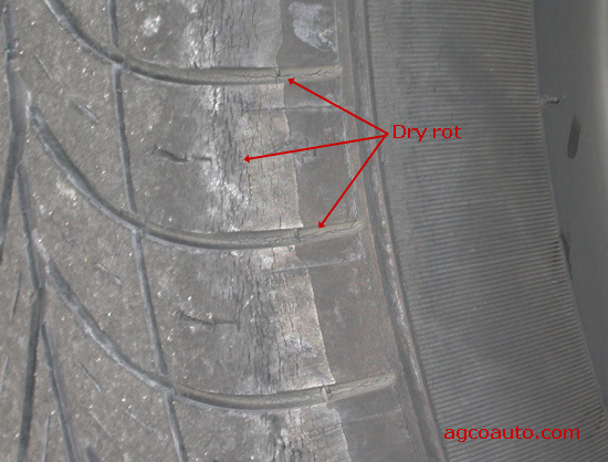 Dry rot cracks in an old tire