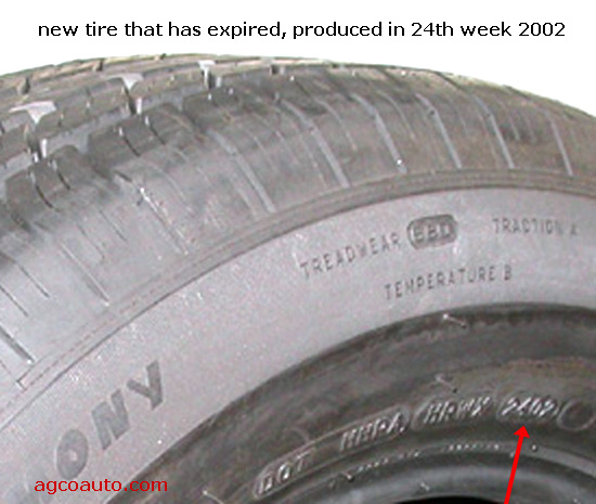 DOT date code indicates tire was built in the 24th week of 2002
