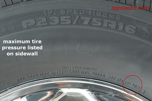 Tire pressure listed on sidewall