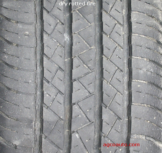Good tread but badly dry rotted tire, take care!