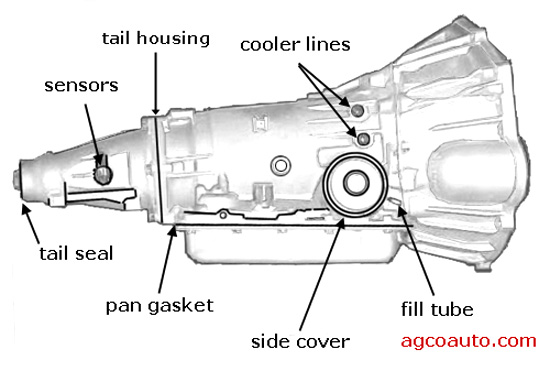 side view of typical leak points on an automatic transmission