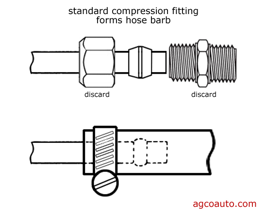 a compression fitting may be used to create a hose barb